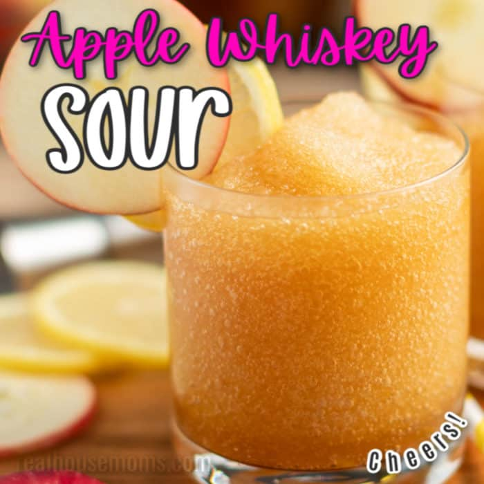 square image of glass of apple whiskey sour