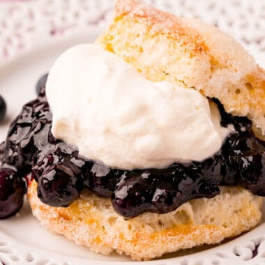 square image of air fryer blueberry shortcakes on a plate
