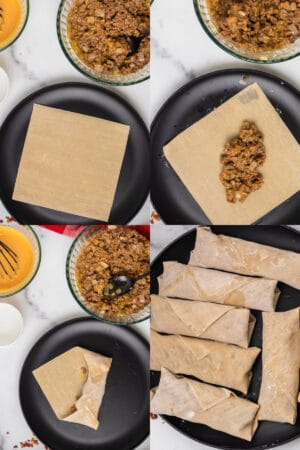 collage of steps to roll egg rolls