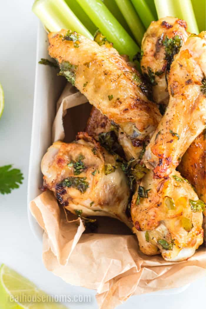 cilantro lime chicken wings with celery