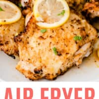 close up of air fryer lemon pepper chicken thighs with recipe name at bottom