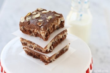 The classic flavors of almond Joy candy bars and texas sheet cake together in one rich delicious crowd pleasing dessert. Make this almond joy sheet cake for your next party. @lizoncall.com