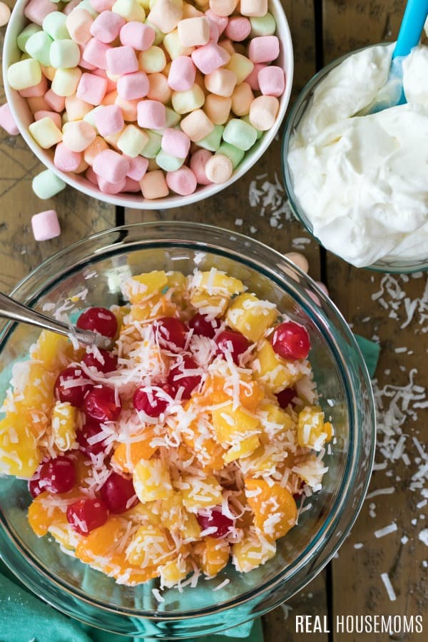 ingredients to make ambrosia salad ready to be mixed together