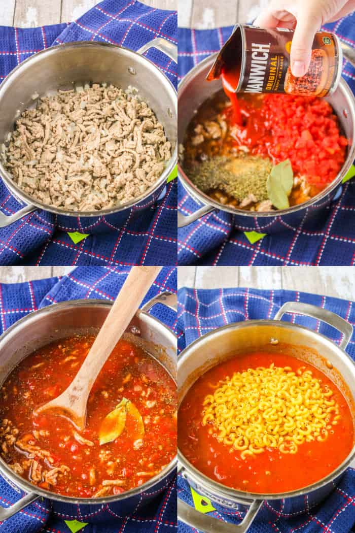 cooked ground turkey, onions, and garlic in a large pot, diced tomatoes, spices, bay leaves, and Manwich sauce add to same pot, goulash ingredients in pot after stirring with a wooden spoon, cooked goulash sauce with uncooked pasta being added to pot