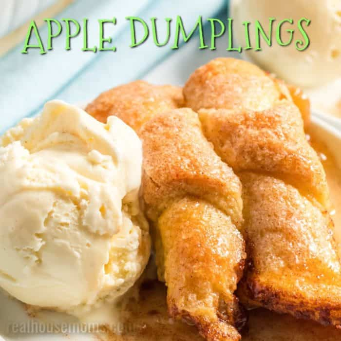 square image of apple dumplings with text