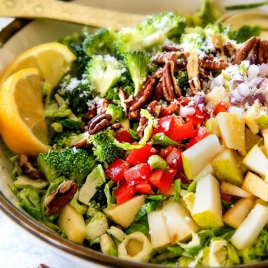 Wonderfully crunchy, satisfying Apple Pecan Brussels Sprouts Salad is a perfect harmony of flavor and texture all doused in to-live-for bright and refreshing Lemon Poppy Seed Dressing!
