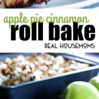 Apple Pie Cinnamon Roll Bake is an easy breakfast casserole with chunks of cinnamon rolls, apple, cinnamon, pecans and cream cheese icing!