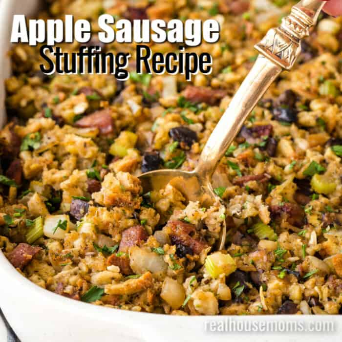 square image of apple sausage stuffing with text