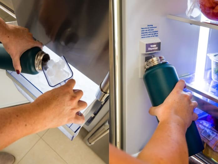 ice drawer and filling water bottle from Beko refrigerator