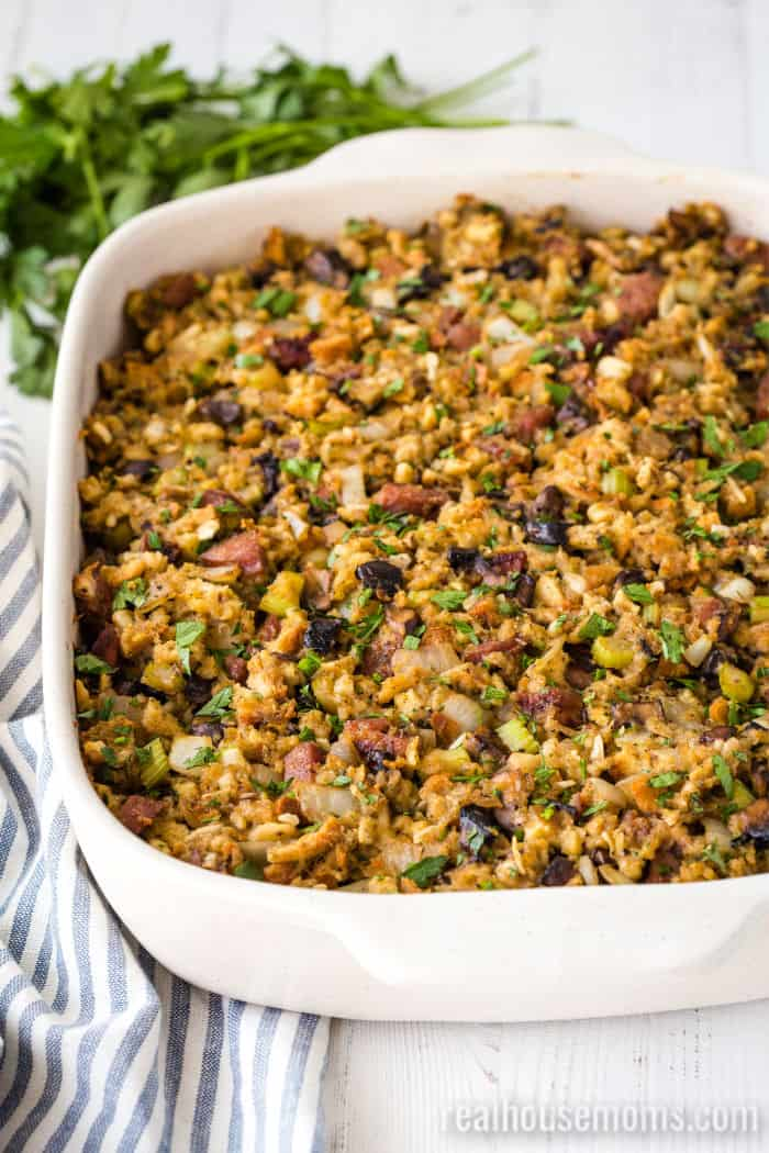 casserole dish of apple sausage stuffing