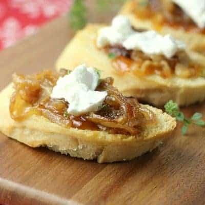 Apricot, Goat Cheese & Caramelized Onion Crostini