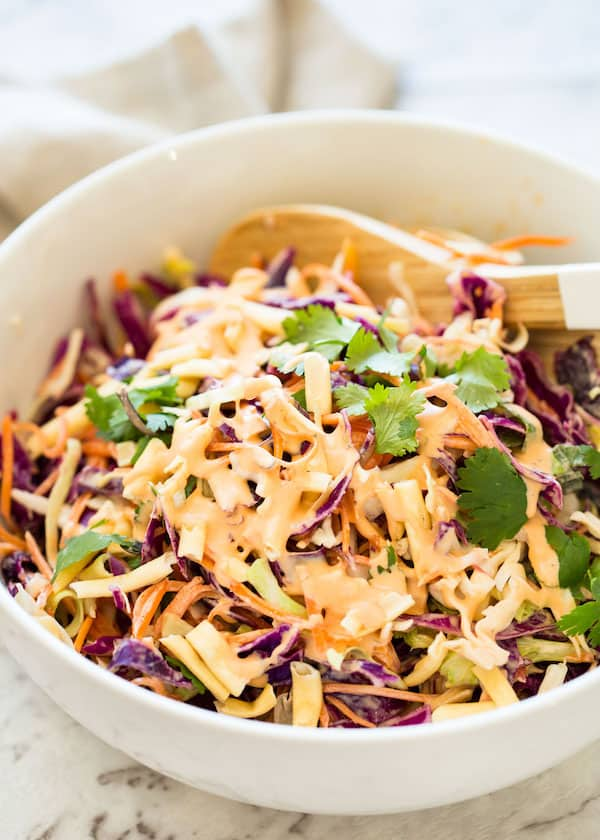 Asian Slaw drizzled with dressing
