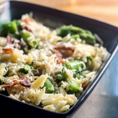 ASPARAGUS PARMESAN ORZO is a delicious Spring side dish that's certain to become a family favorite!