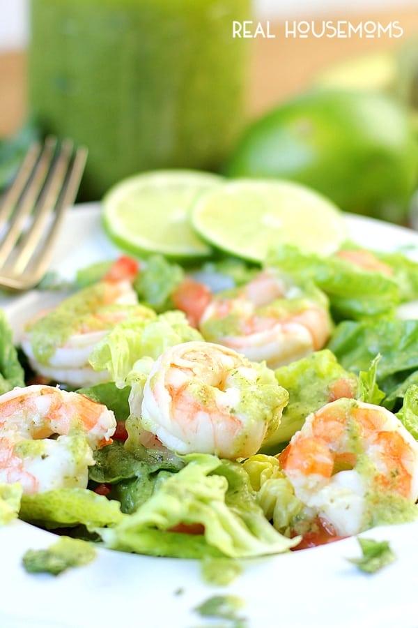 Close up of Avocado Cilantro Lime Shrimp Salad drizzled with dressing.