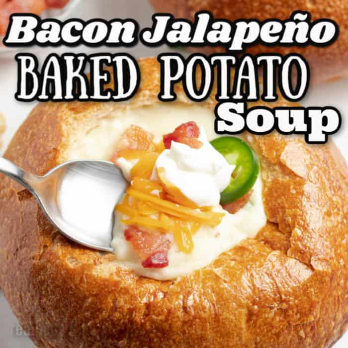 square image of Bacon Jalapeno Baked potato soup
