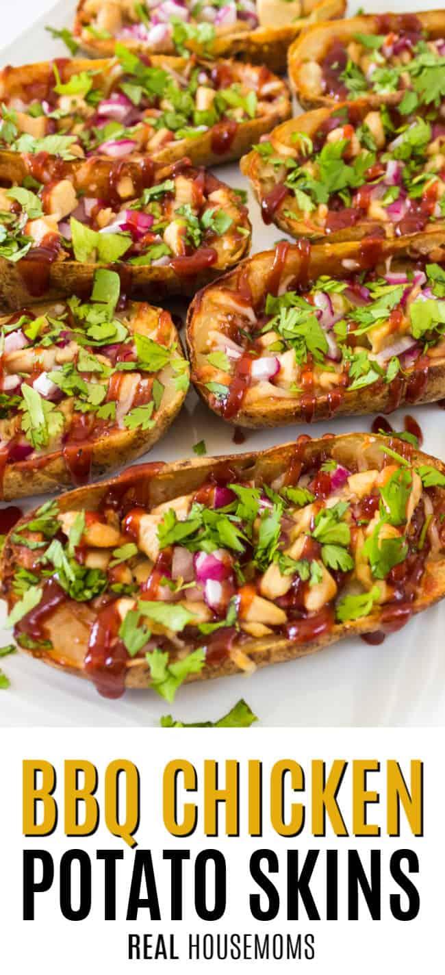bbq chicken potato skins on a serving platter