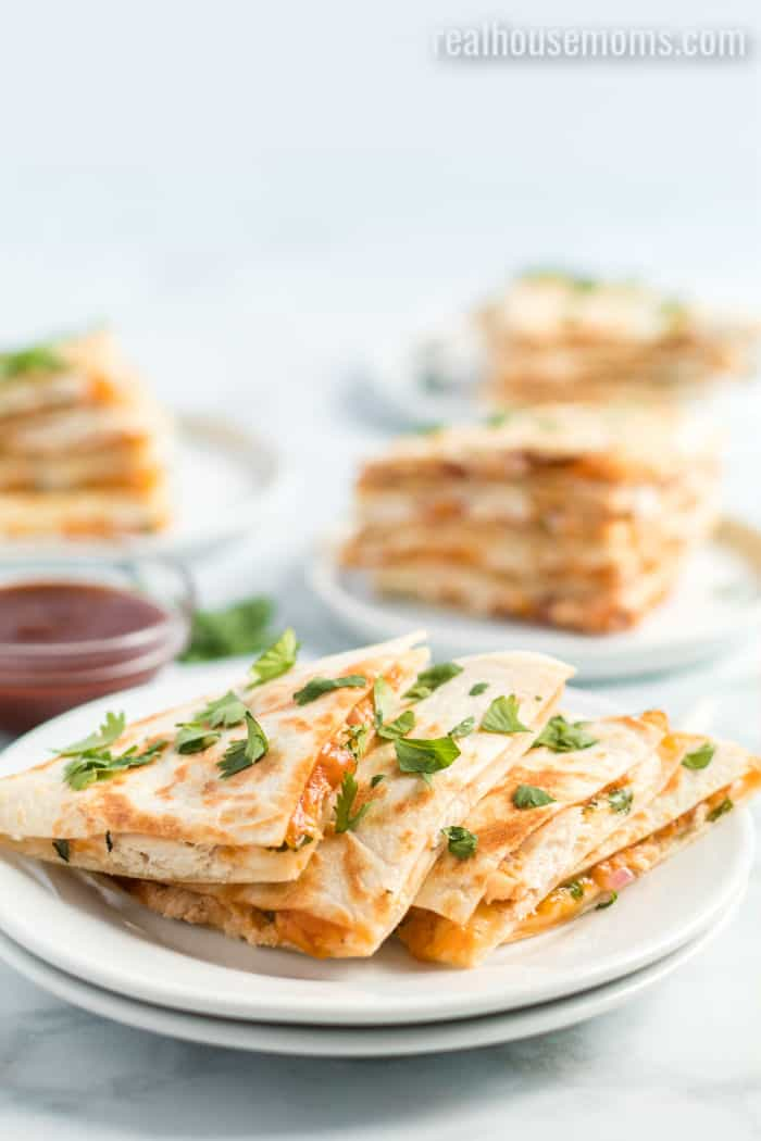 bbq chicken quesadillas on a plate