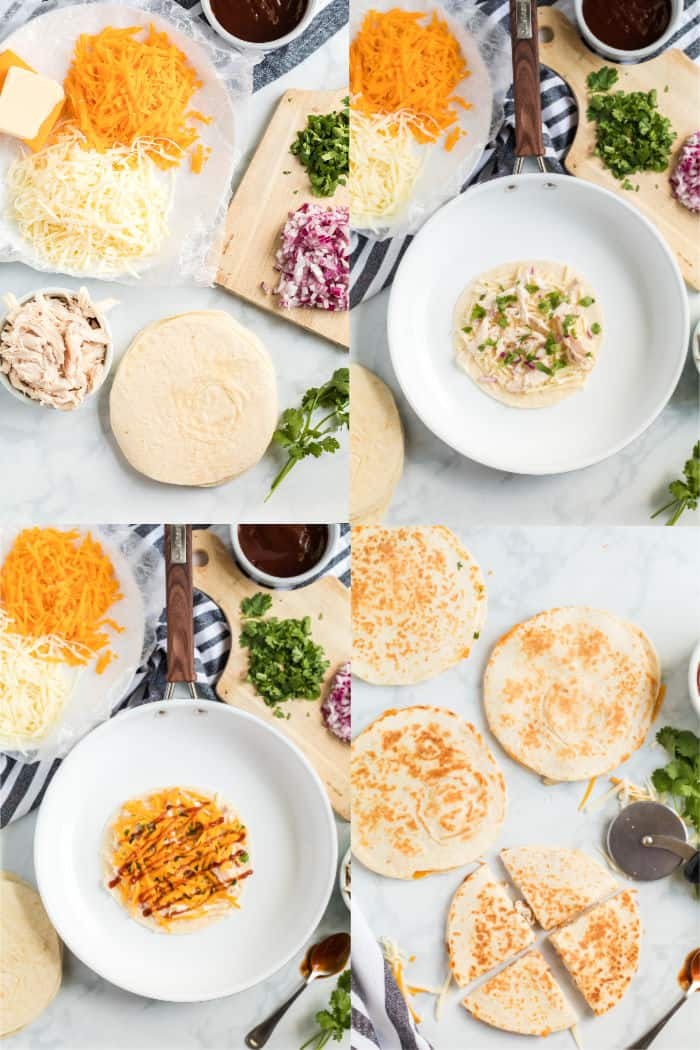 how to make bbq chicken quesadillas