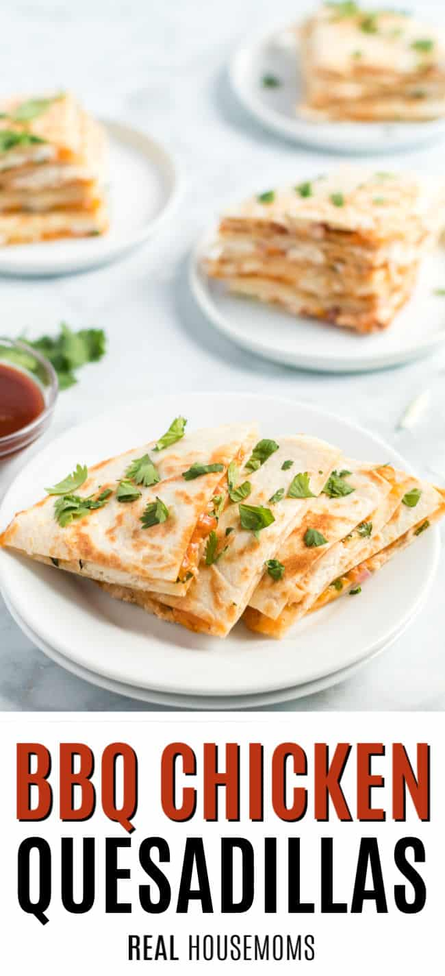 slices of BBQ chicken quesadilla on a plate