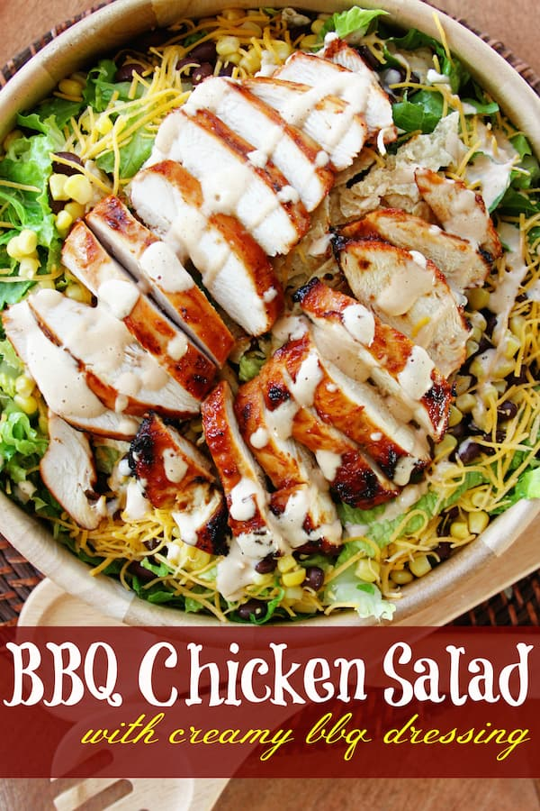 BBQ Chicken Salad with Creamy BBQ Dressing - Favorite Family Recipes