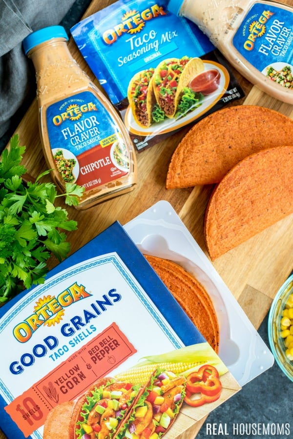 Ortega ingredients to make bbq ranch chicken tacos