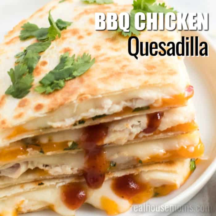square image of bbq chicken quesadillas with text