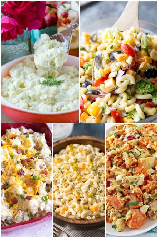 potato salad and macaroni salads for a cookout