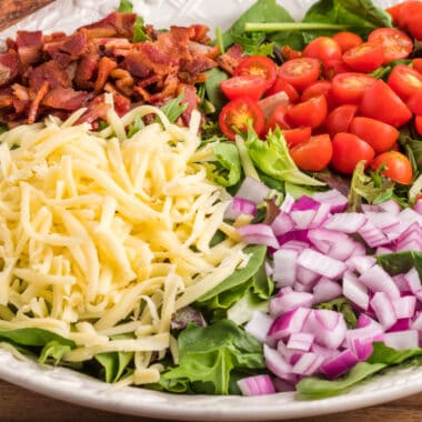 square image of BLT salad in a serving bowl before tossing
