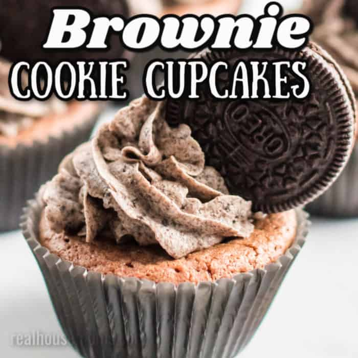square image of brownie cookie cupcakes with writing
