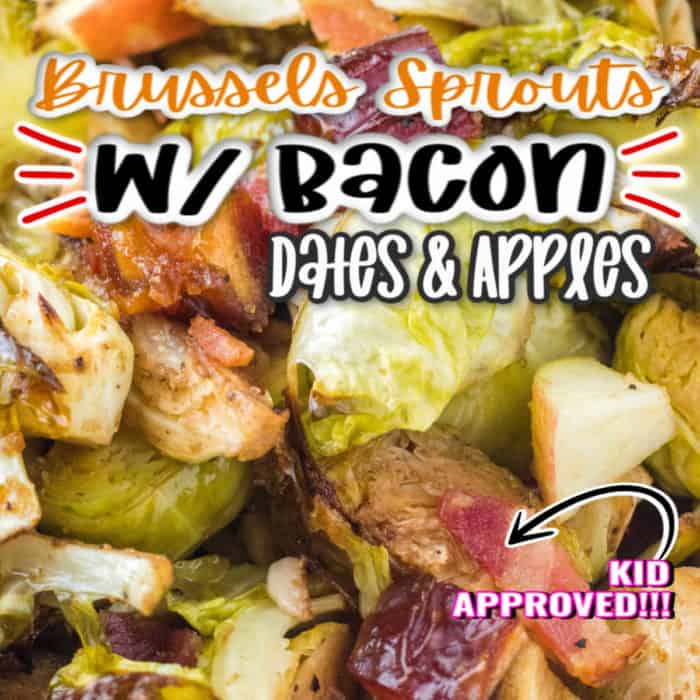 Square image of Brussels sprouts w/ bacon, dates and apples