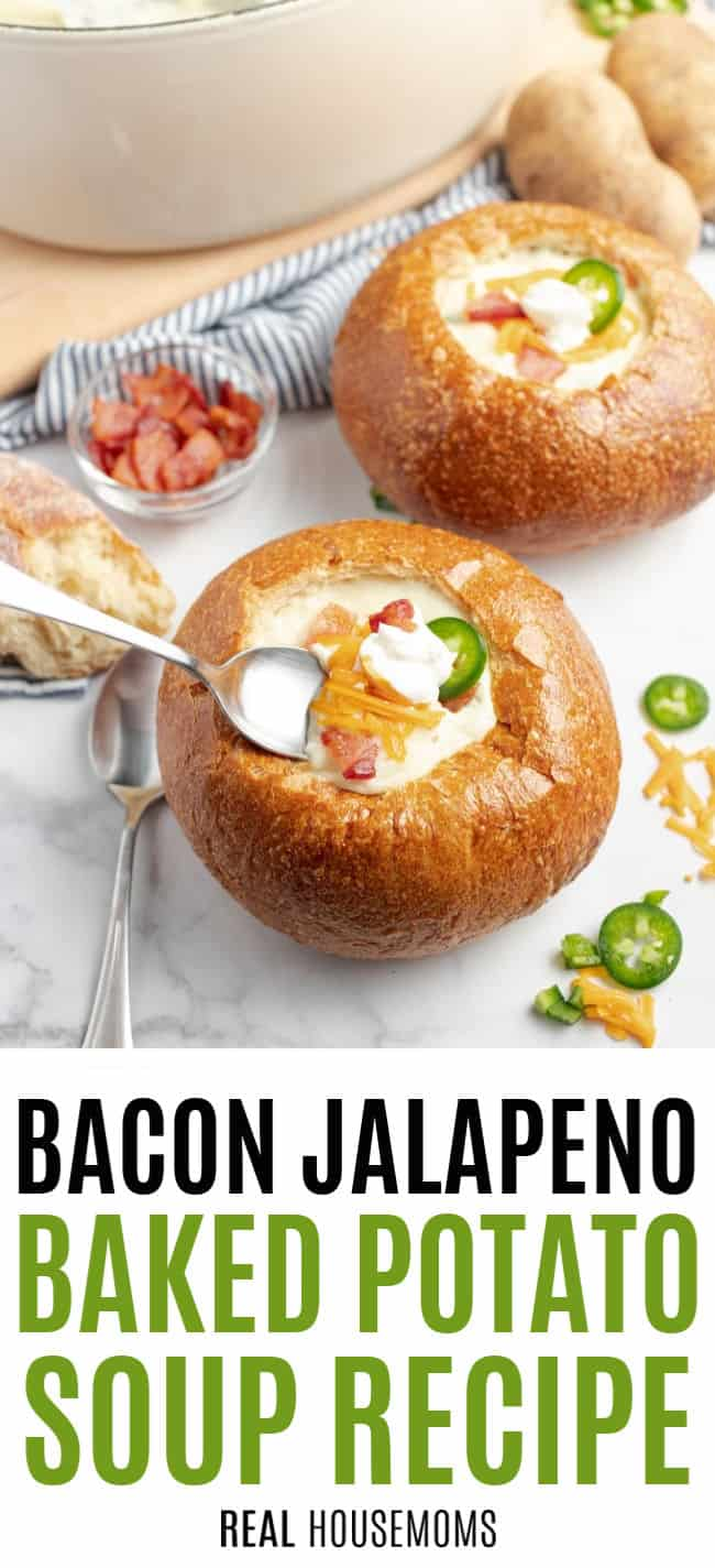 spoon in a bread bowl of bacon jalapeno baked potato soup