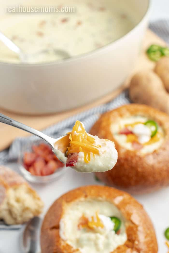 spoonful of baked potato soup