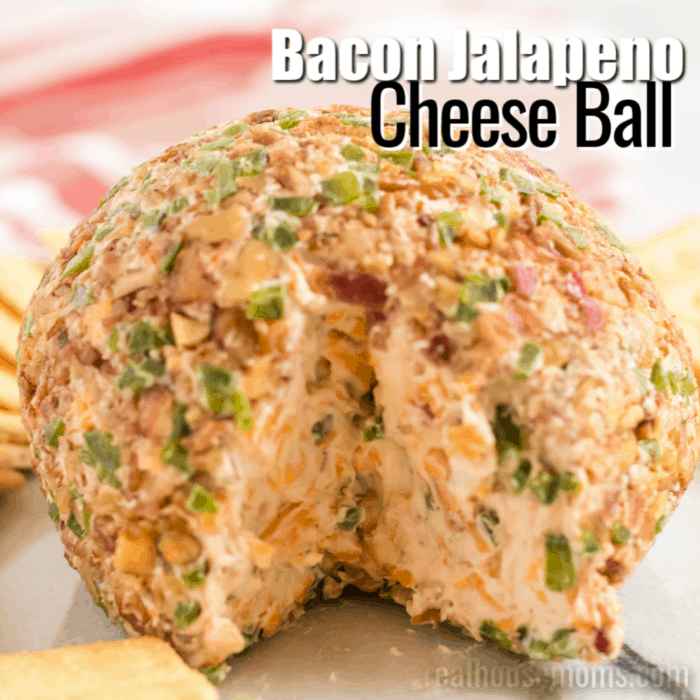 square image of bacon jalapeno cheese ball with text