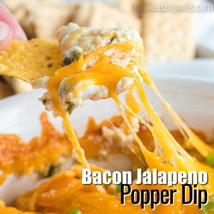 square image of bacon jalapeno popper dip with text