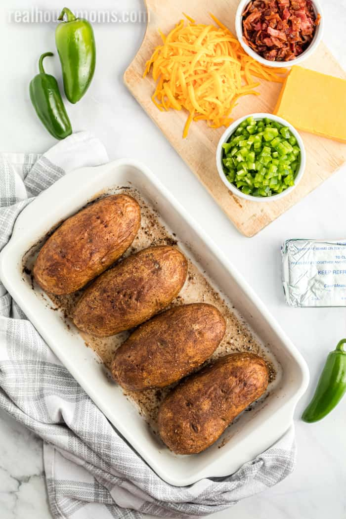 ingredients for jalapeno popper baked potatoes