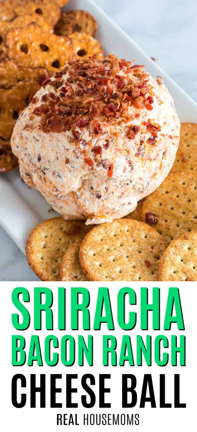 sriracha bacon ranch cheese ball on a serving platter with pretzels and crackers