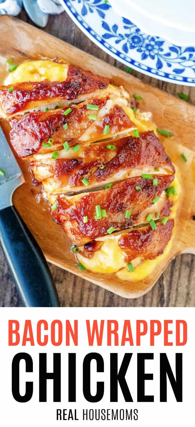 bacon wrapped chicken on a slice on a cutting board