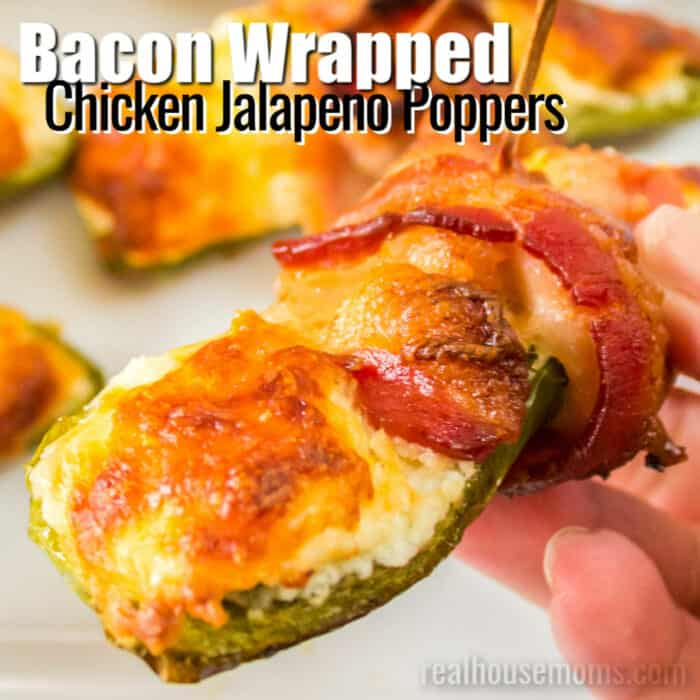 square image of bacon wrapped chicken jalapeno poppers with text