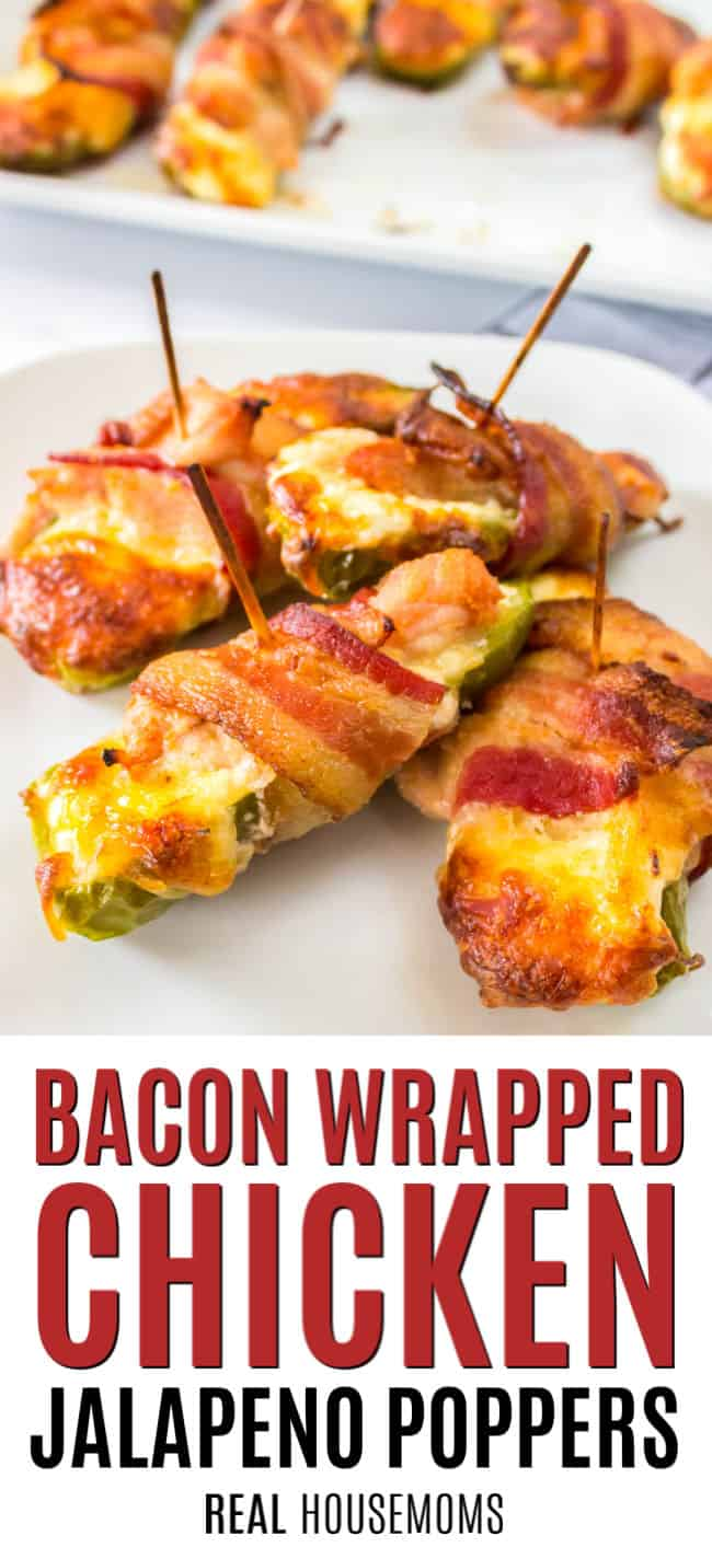 plate of jalapeno chicken poppers wrapped in bacon