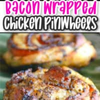 Collage of two images of Bacon and chicken pinwheels