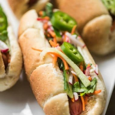 Bahn Mi Slaw is inspired by those great tasting Vietnamese sandwiches and works as an amazing topping for hot dogs!!! It's an easy recipe that everyone will love.