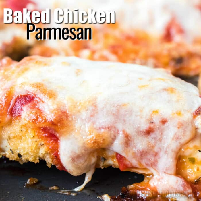 Square image of baked chicken parmesan with text