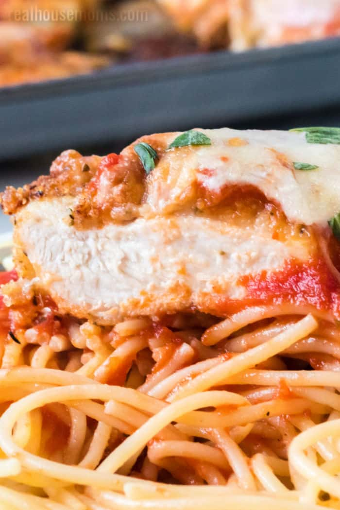 chicken parmesan cut in half to show middle