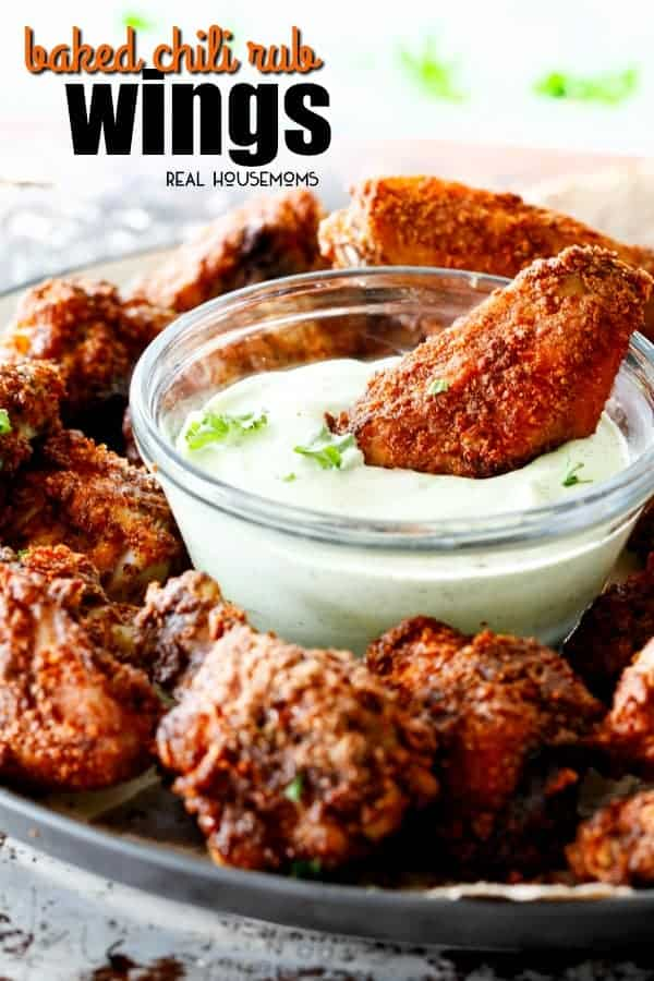 Baked Chili Rub Wings dipped in Avocado Ranch Dressing