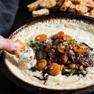 Baked Goat Cheese Dip with Tomatoes and Basil