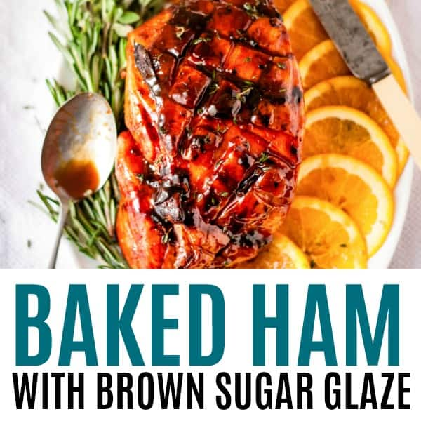square image of baked ham with brown sugar glaze