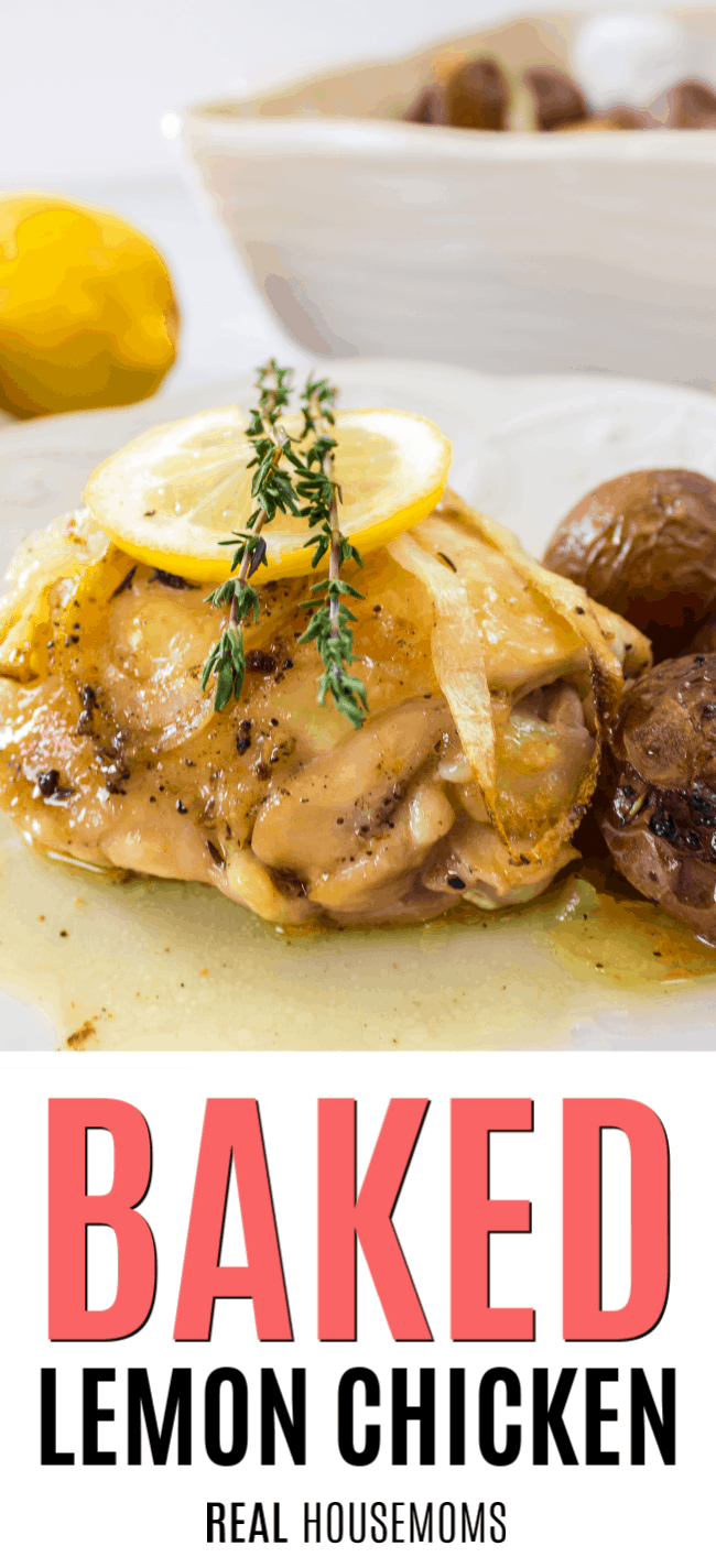 bakedn lemon chicken thigh on a plate with potatoes
