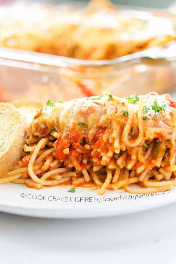 Baked Spaghetti Casserole - Spend with Pennies