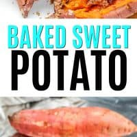 Baked sweet potatoes sliced in half with cinnamon and butter and sweet potatoes on a baking sheet