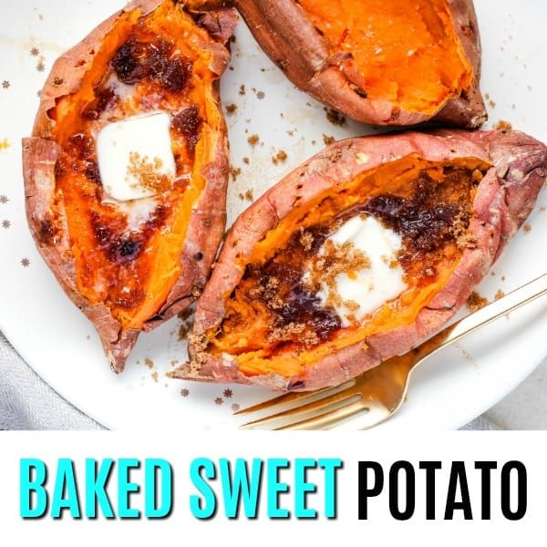 square baked sweet potato image with text